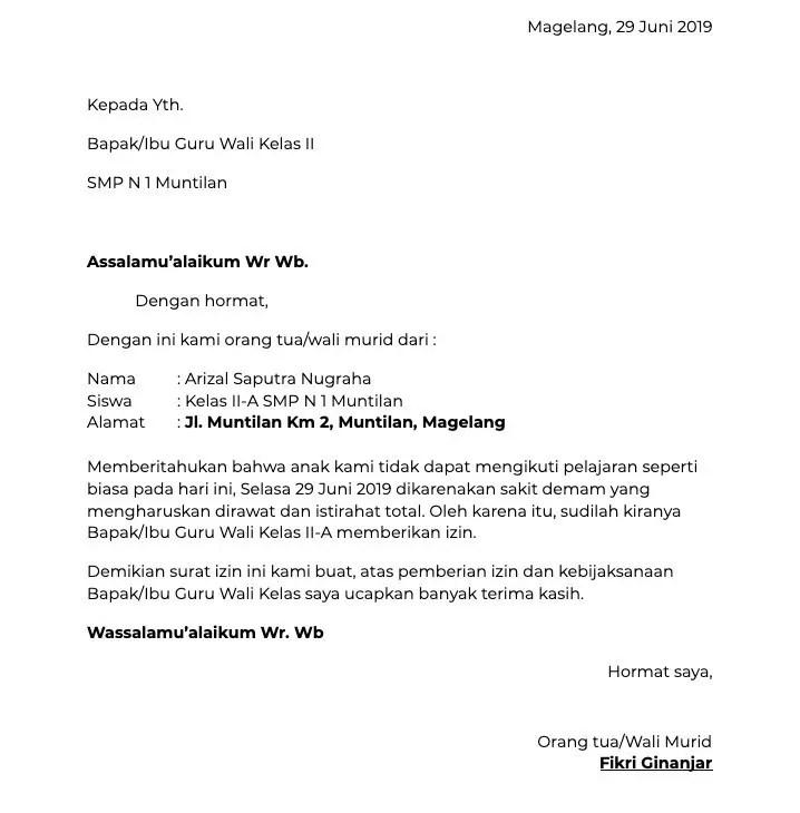 Surat Izin Sakit Ke SMP