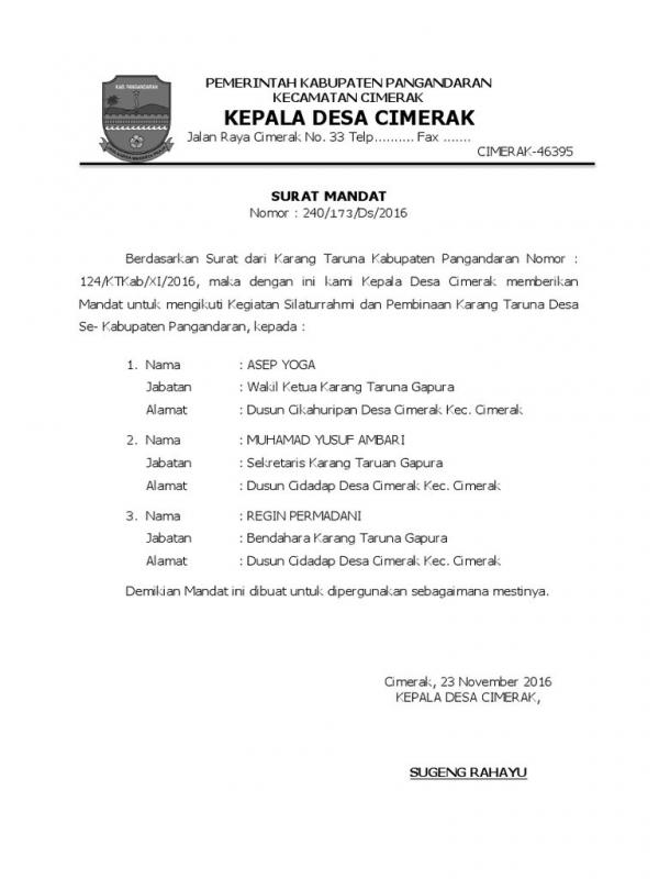 Surat Mandat Perintah Untuk Melaksanakan Tugas Tertentu