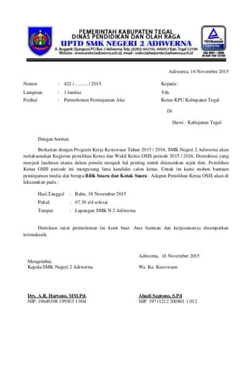 Surat Peminjaman Barang Dari BEM