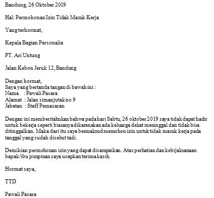 Contoh Surat Izin Tidak Masuk Kerja Karena Kedukaan Versi 1