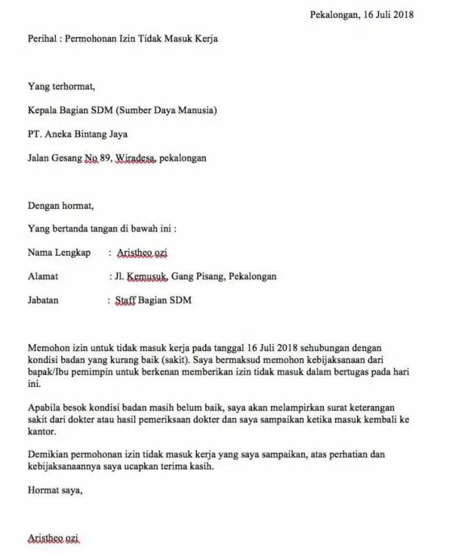 Contoh Surat Izin Tidak Masuk Kerja Karena Orang Tua Sakit E1603412714160
