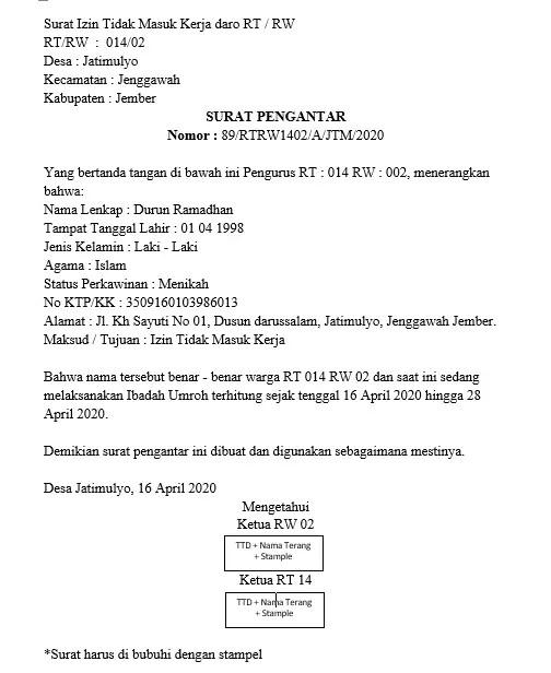 Contoh Surat Izin Tidak Masuk Kerja Dari RT RW Versi 1