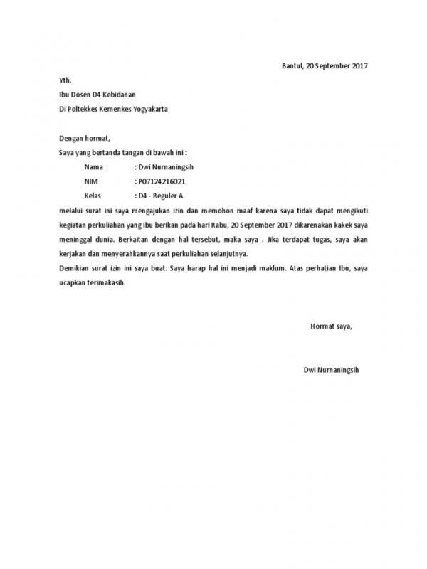 Contoh Surat Izin Tidak Masuk Kuliah Karena Musibah