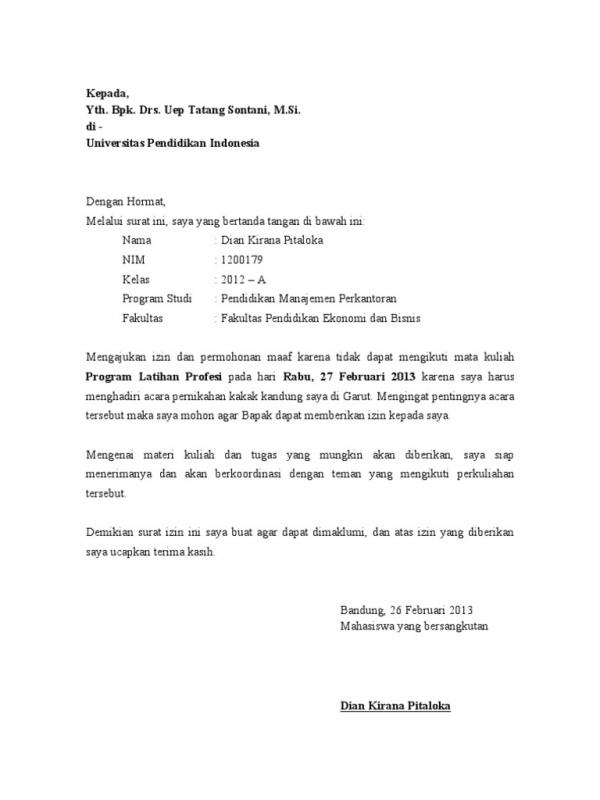 Contoh Surat Izin Tidak Masuk Kuliah Karena Seminar
