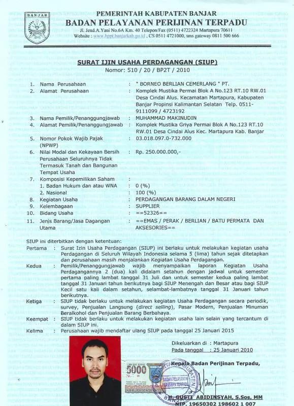Contoh Surat Izin Usaha Perdagangan Menengah 1