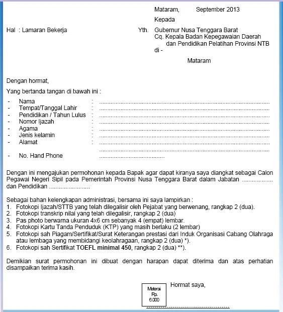 Contoh Surat Lamaran CPNS Pemerintah Provinsi Tipe 1