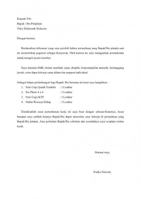 Contoh Surat Lamaran Kerja Di Pabrik Elektronik
