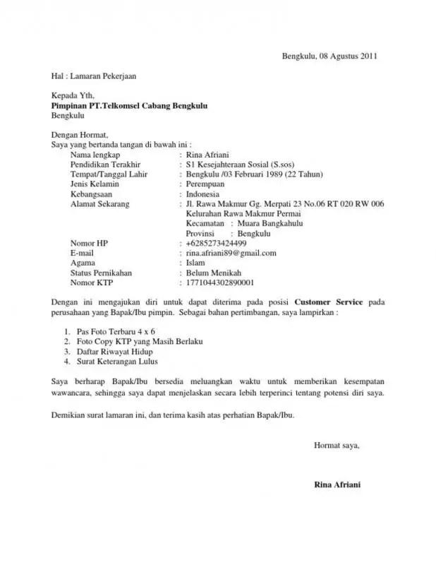 Contoh Surat Lamaran Kerja Di Pabrik Posisi Customer Service