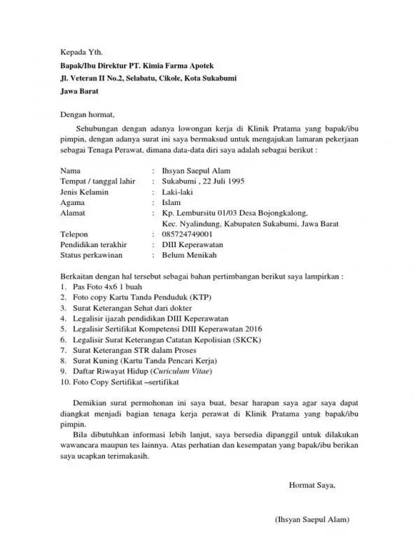 Contoh Surat Lamaran Kerja Perawat Klinik