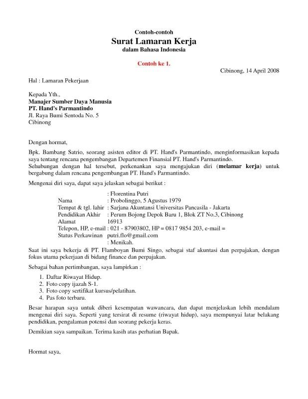 Contoh Surat Lamaran Kerja Profesional 1