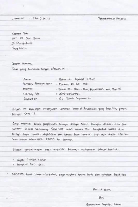 Contoh Surat Lamaran Kerja Simple Tulis Tangan Untuk Fresh Graduate 1