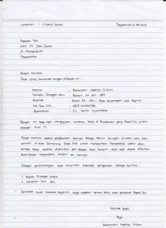 7 Contoh Surat Lamaran Kerja Tulis Tangan Yang Baik Dan Benar