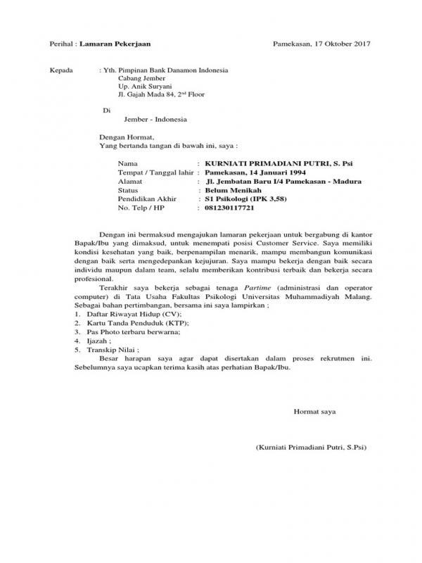Contoh Surat Lamaran Kerja Di Bank Danamon