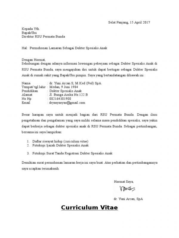 Contoh Surat Lamaran Kerja Di Rumah Sakit Untuk Dokter Spesialis