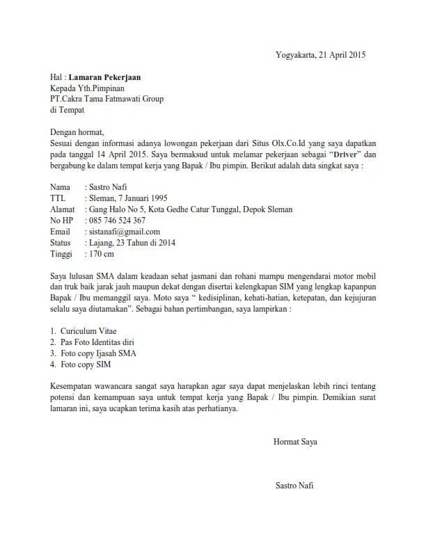 Contoh Surat Lamaran Kerja Via Email Untuk Posisi Sopir