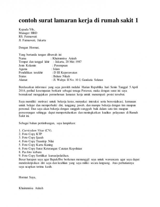 Contoh Surat Lamaran Kerja Via Email Untuk Rumah Sakit