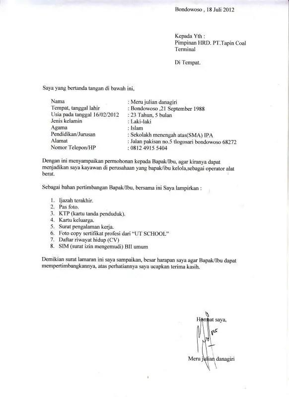 Contoh Surat Lamaran Pekerjaan Fresh Graduate Kerja Di Pabrik8