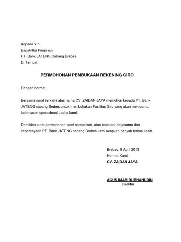Contoh Surat Pembukaan Rekening Giro Bank BJB Dan Pembuatan Cek