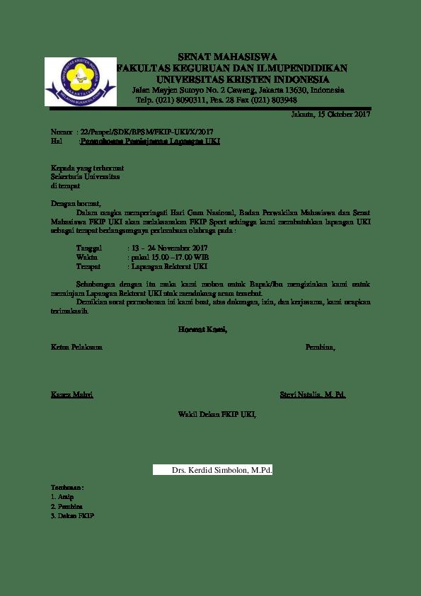 Contoh Surat Peminjaman Lapangan