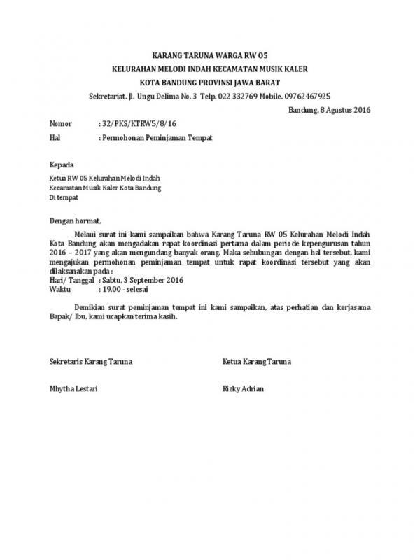 Contoh Surat Peminjaman Tempat Untuk Rapat