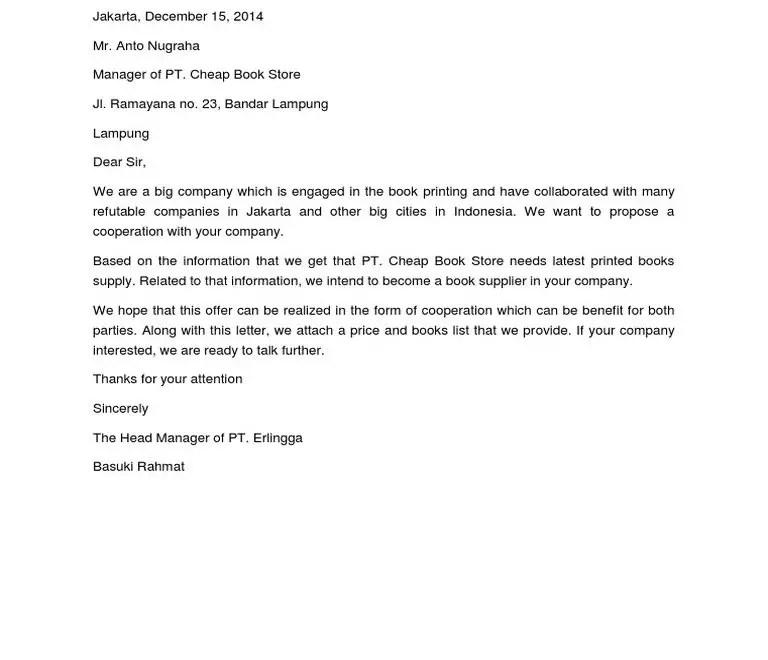 Contoh Surat Penawaran Kerjasama Dalam Bahasa Inggris E1605504445239