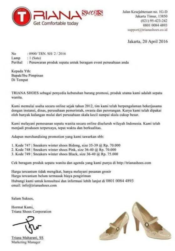Contoh Surat Penawaran Produk Sepatu