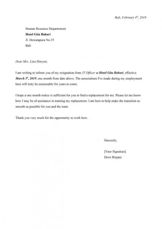 Contoh Surat Pengunduran Diri Dalam Bahasa Inggris