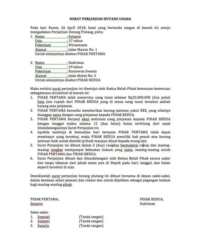 Contoh Surat Perjanjian Hutang Pembayaran Barang