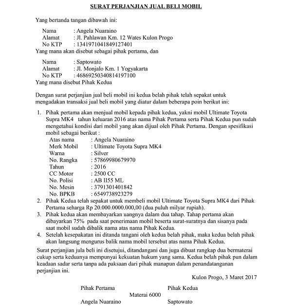 Contoh Surat Perjanjian Jual Beli Mobil Secara Kredit
