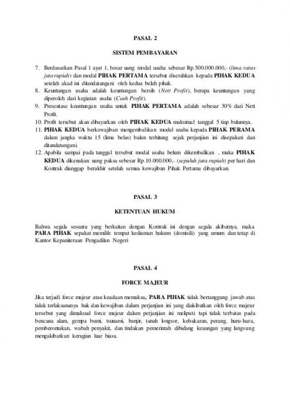 Contoh Surat Perjanjian Kerjasama Investasi Bagian Isi Ke 2 1