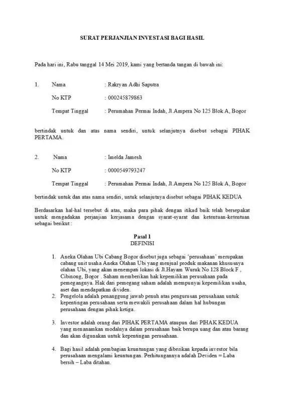 Contoh Surat Perjanjian Kerjasama Investasi Usaha Bagian Isi