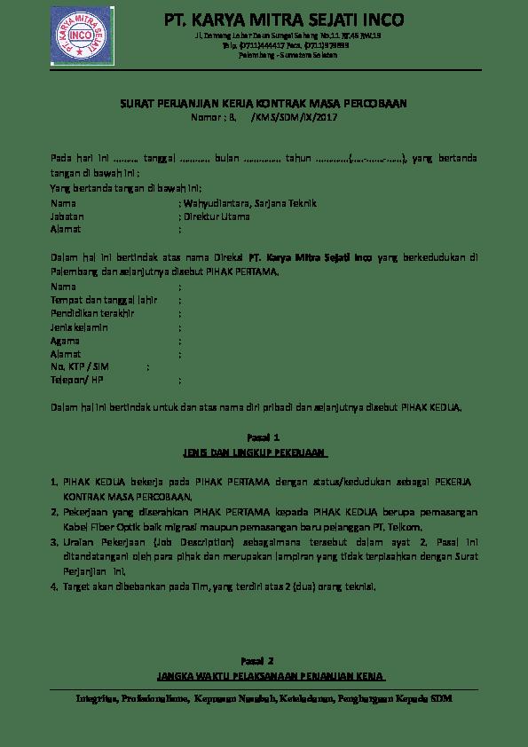 Contoh Surat Perjanjian Kontrak Masa Percobaan