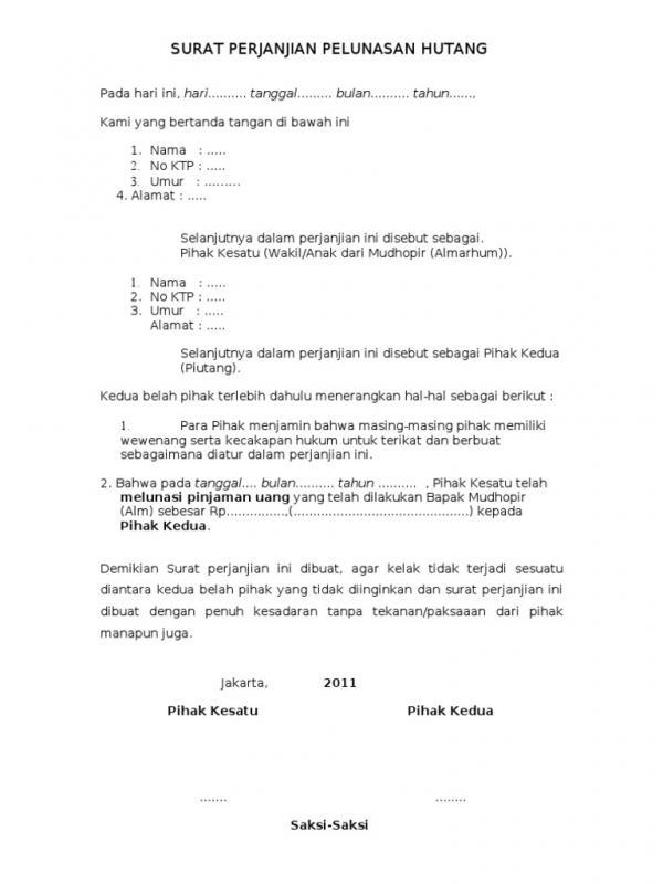 Contoh Surat Perjanjian Pelunasan Hutang Barang