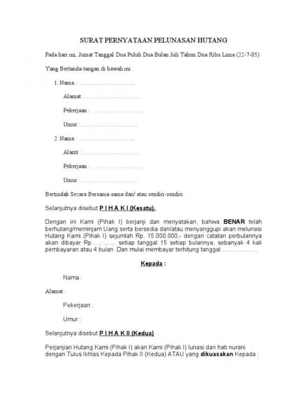 Contoh Surat Perjanjian Pelunasan Hutang Pegawai