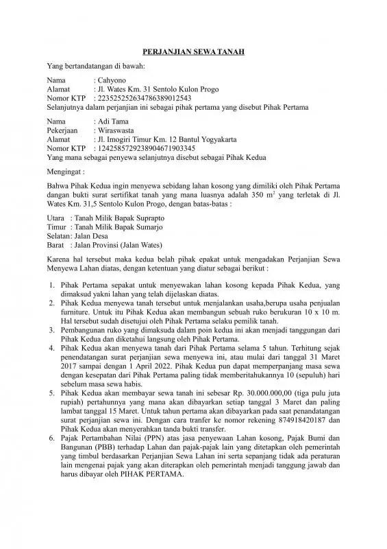 Contoh Surat Perjanjian Sewa Tanah Untuk Pembangunan Mal