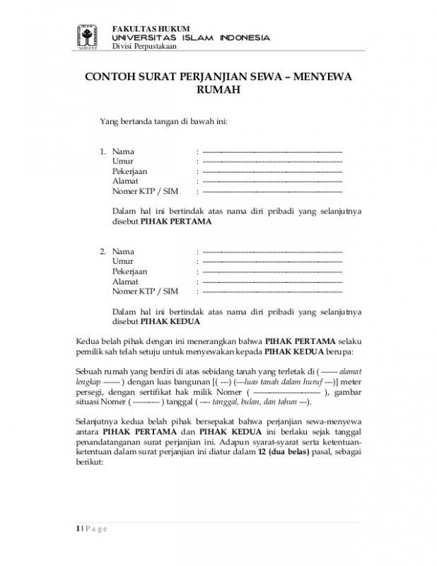 Contoh Surat Perjanjian Singkat Sewa Menyewa