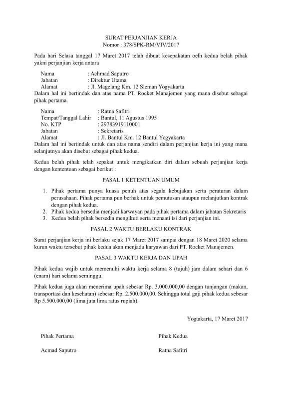 Contoh Surat Perjanjian Singkat Tentang Kesepakatan Kerja
