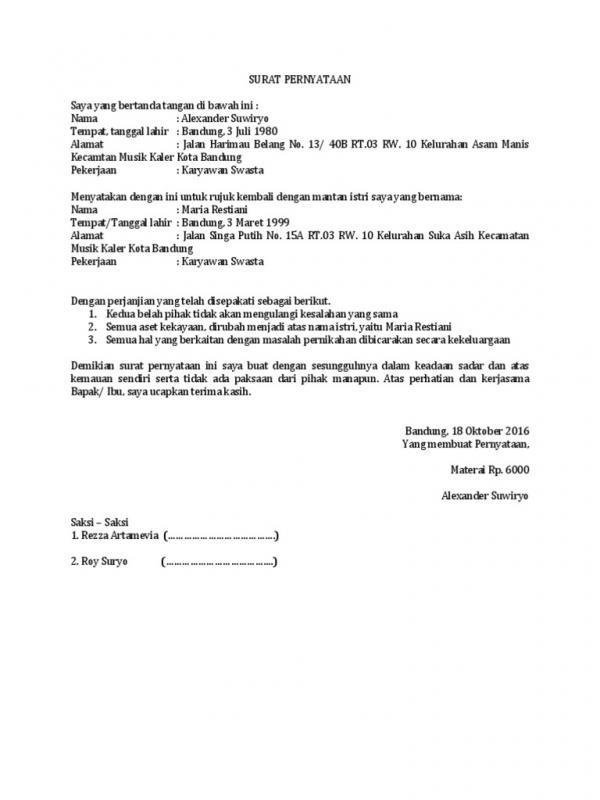 Contoh Surat Perjanjian Suami Istri Rujuk