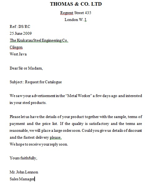 Contoh Surat Permintaan Penawaran Dalam Bahasa Inggris