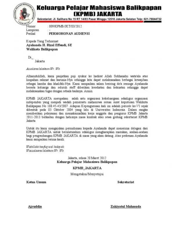 Contoh Surat Permohonan Audiensi Kepada Camat