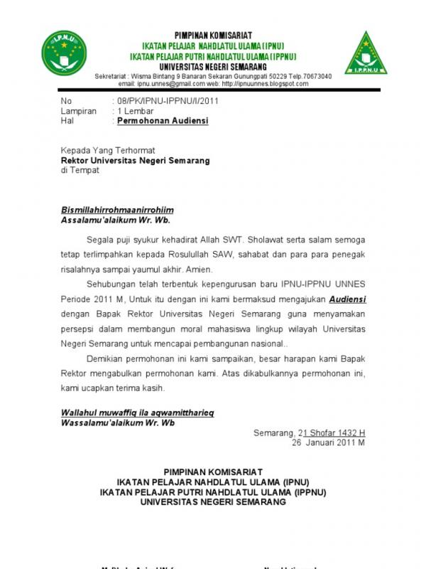 Contoh Surat Permohonan Audiensi Kepada Rektor Universitas