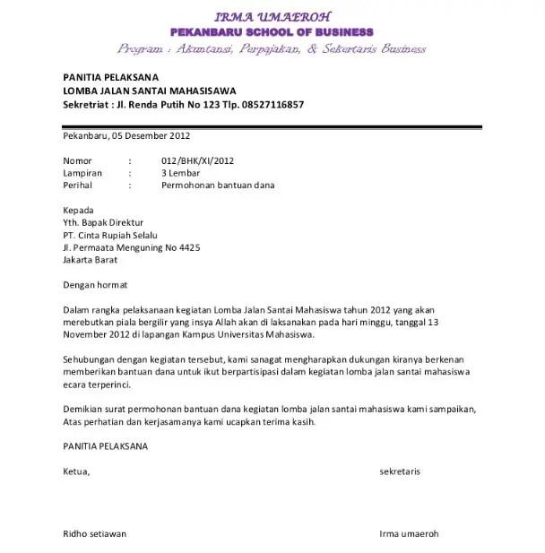 Contoh Surat Permohonan Dana Sarana