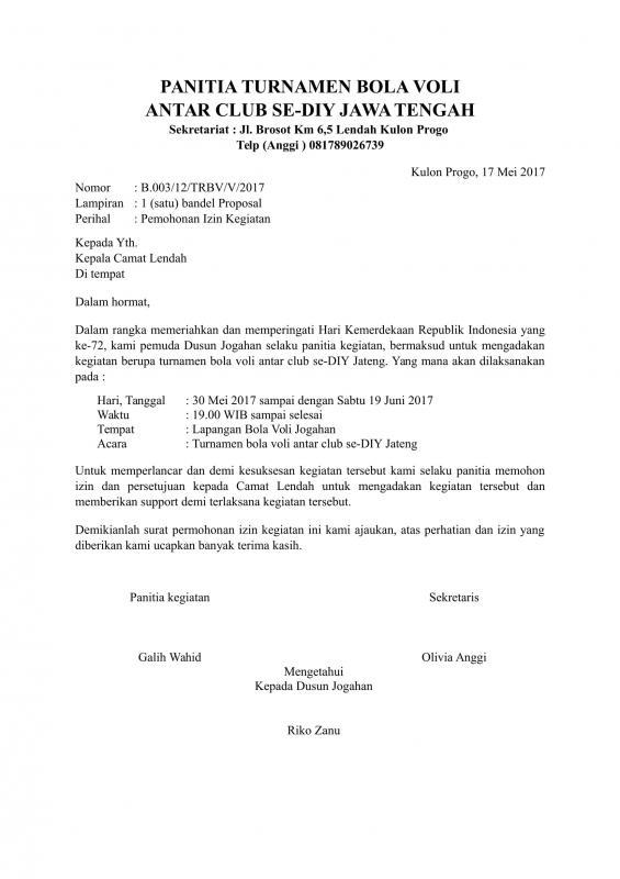 Contoh Surat Permohonan Izin Kegiatan Ke Kepala Desa