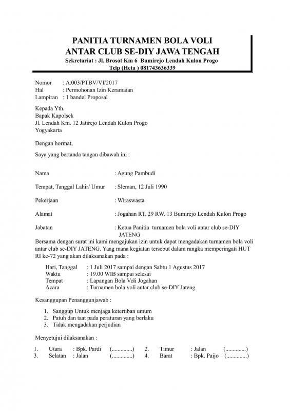 Contoh Surat Permohonan Izin Kegiatan Ke Polsek