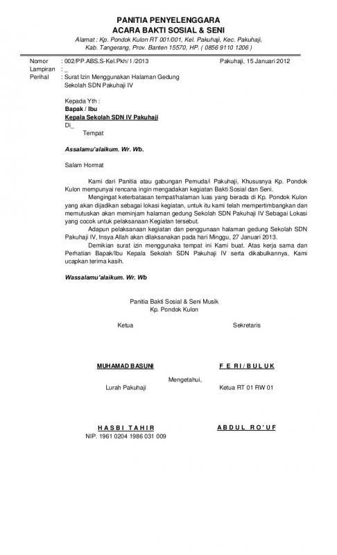 Contoh Surat Permohonan Izin Peminjaman Tempat Untuk Kegiatan Lomba Mewarnai