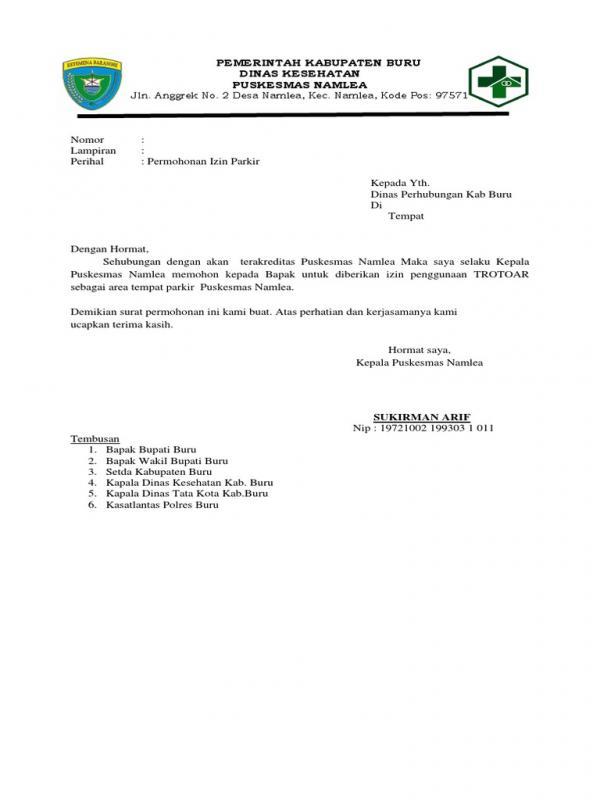 Contoh Surat Permohonan Izin Penggunaan Tempat Parkir