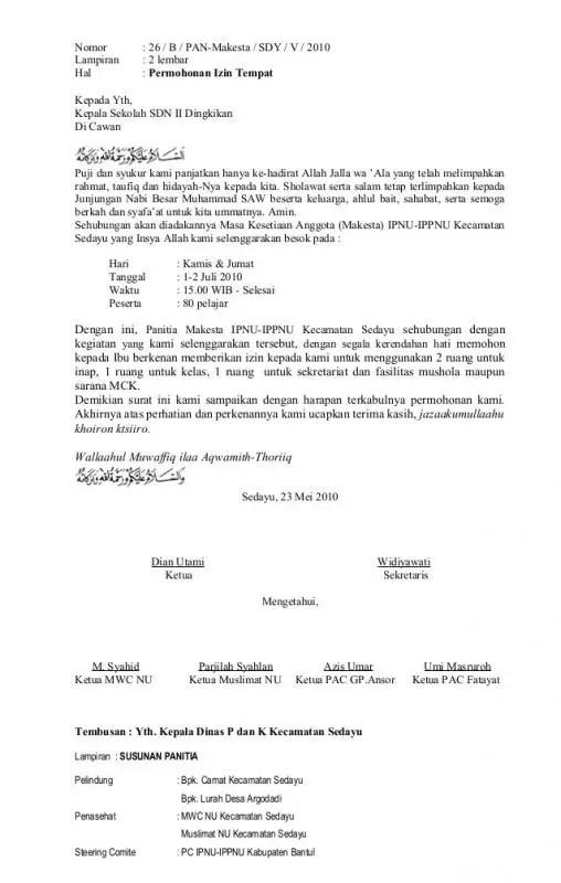 Contoh Surat Permohonan Izin Penggunaan Tempat Untuk Kegiatan Pelatihan