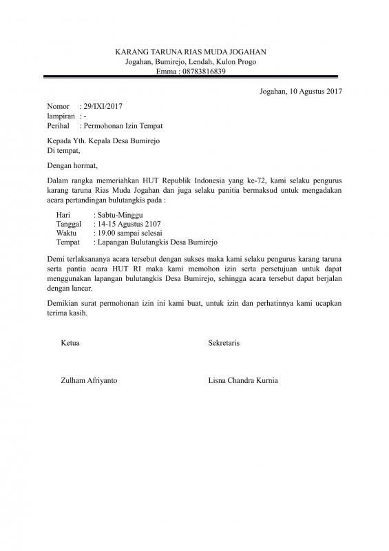 Contoh Surat Permohonan Izin Penggunaan Tempat Untuk Lomba Bulutangkis