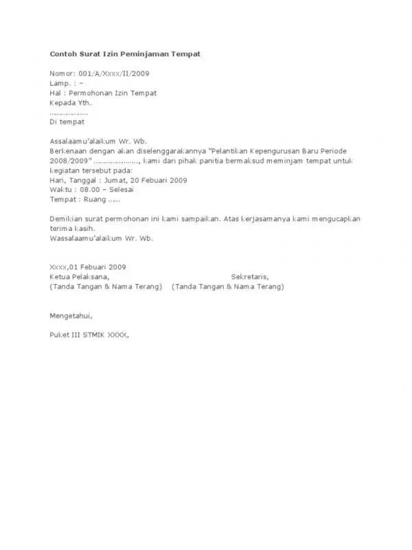 Contoh Surat Permohonan Izin Penggunaan Tempat Untuk Pemilu