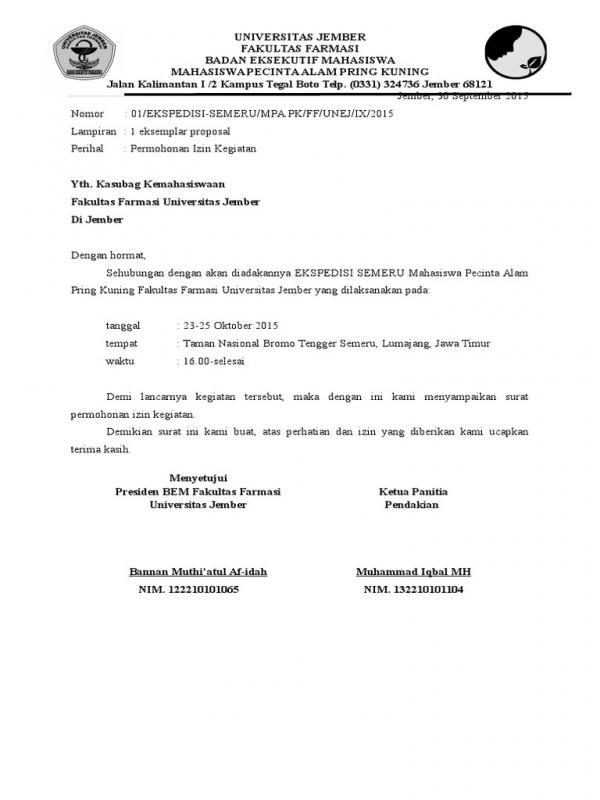 Contoh Surat Permohonan Izin Tempat Seminar